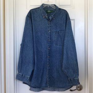Men's Denim Button-down Shirt; Size XL